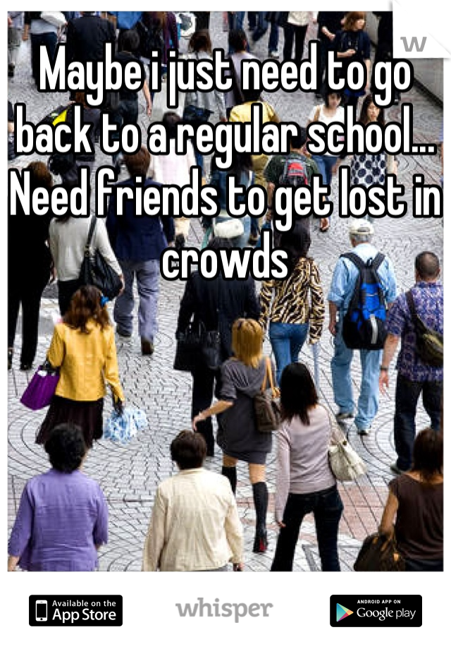 Maybe i just need to go back to a regular school... Need friends to get lost in crowds