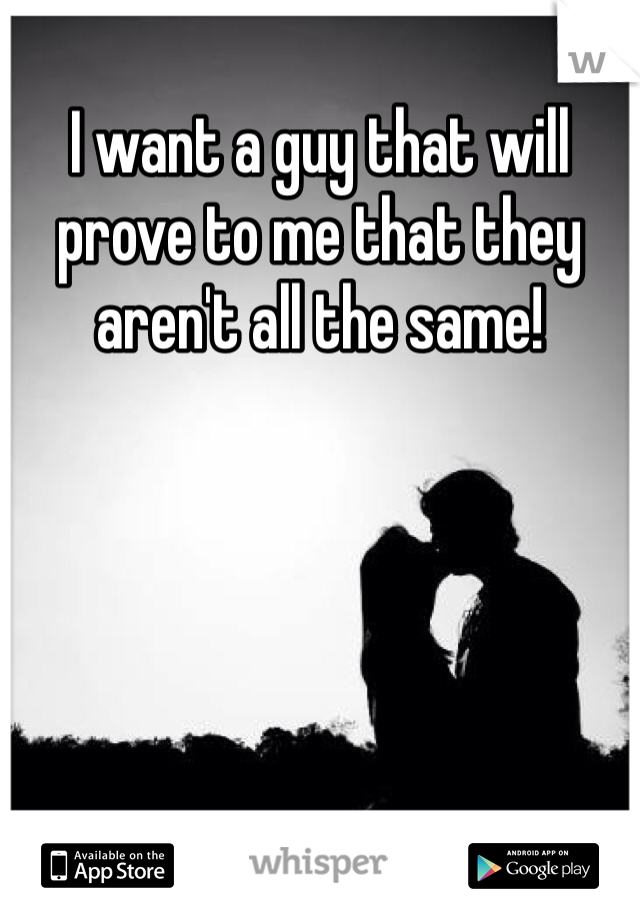 I want a guy that will prove to me that they aren't all the same!