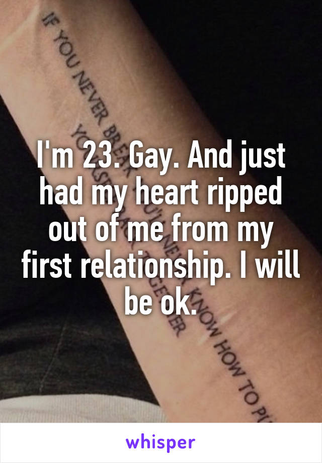 I'm 23. Gay. And just had my heart ripped out of me from my first relationship. I will be ok.