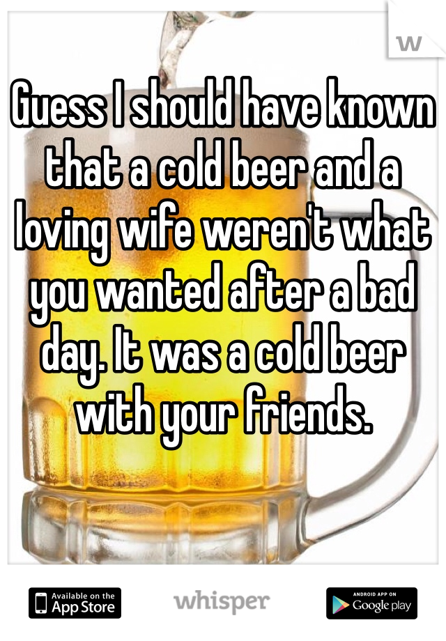 Guess I should have known that a cold beer and a loving wife weren't what you wanted after a bad day. It was a cold beer with your friends.