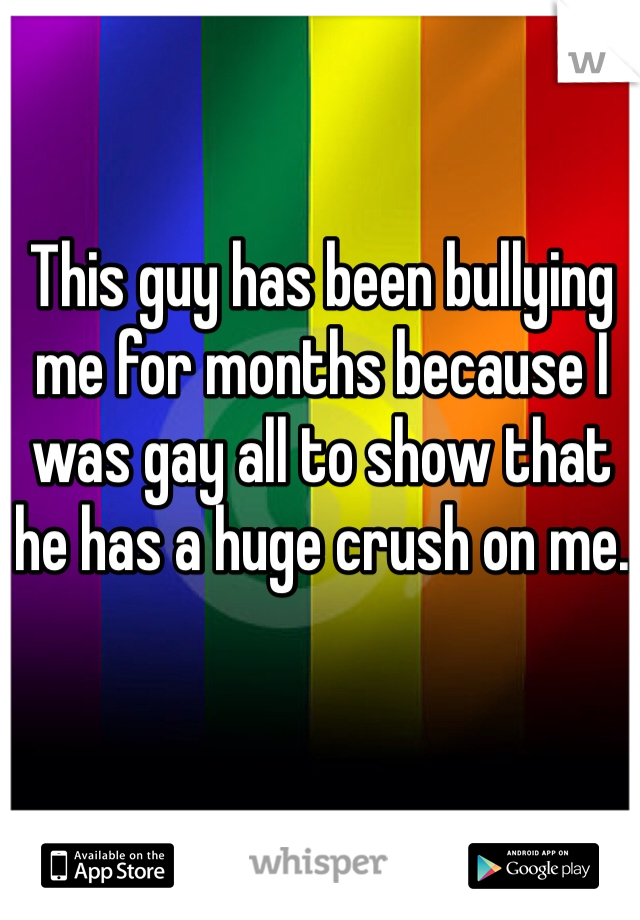 This guy has been bullying me for months because I was gay all to show that he has a huge crush on me.