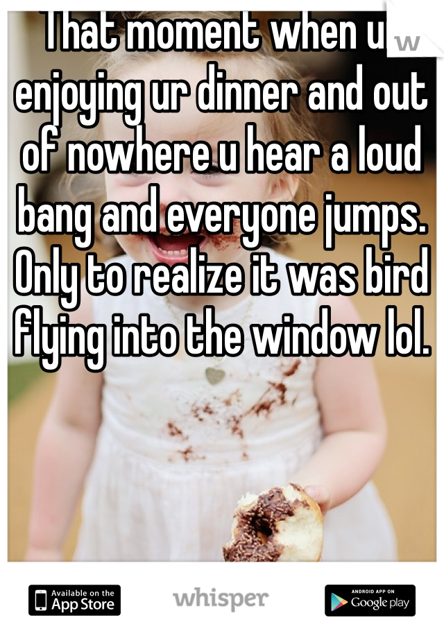 That moment when ur enjoying ur dinner and out of nowhere u hear a loud bang and everyone jumps. Only to realize it was bird flying into the window lol.