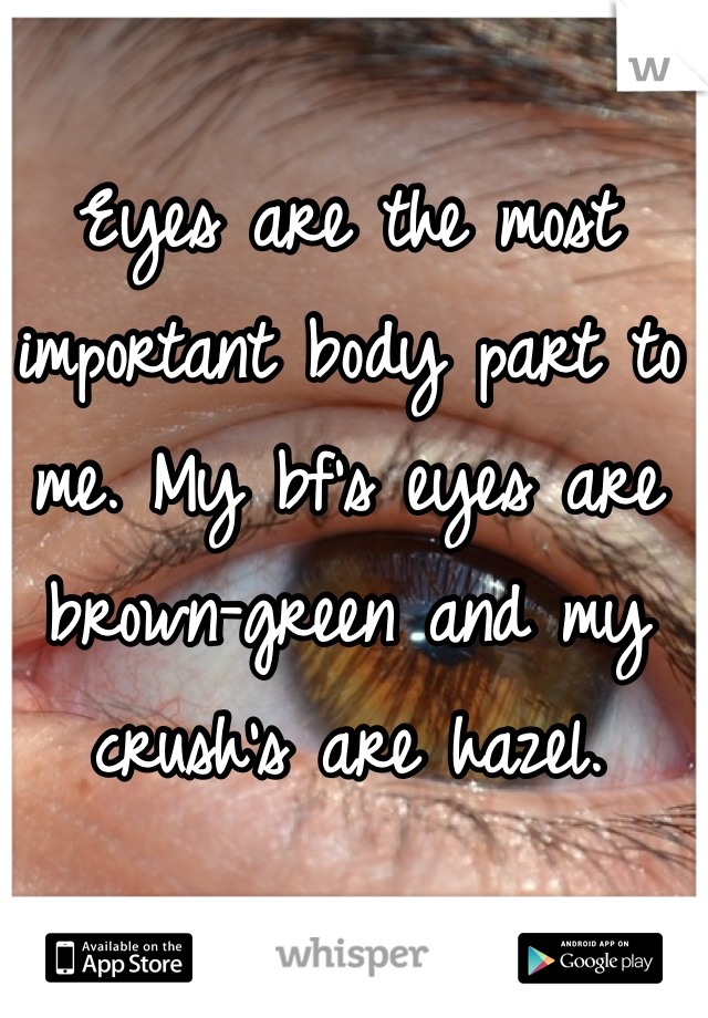 Eyes are the most important body part to me. My bf's eyes are brown-green and my crush's are hazel.