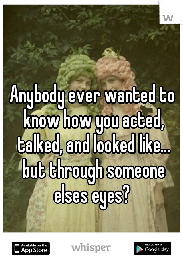 Anybody ever wanted to know how you acted, talked, and looked like... but through someone elses eyes?