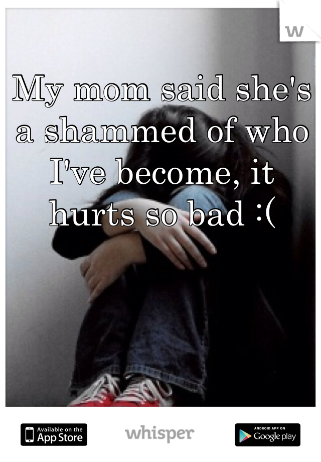 My mom said she's a shammed of who I've become, it hurts so bad :(