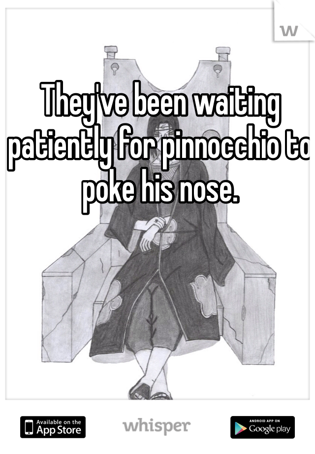 They've been waiting patiently for pinnocchio to poke his nose.