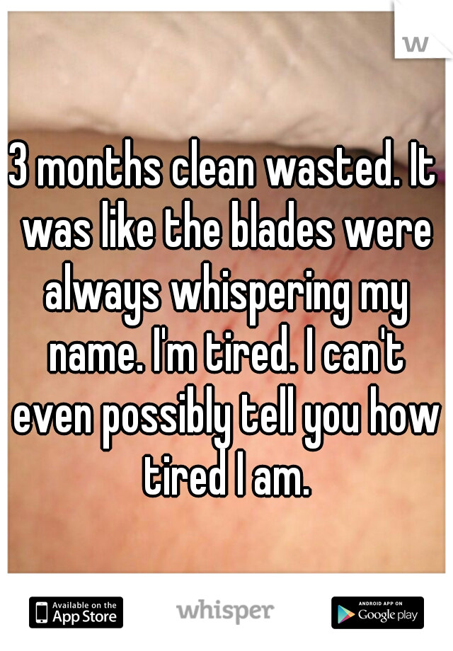 3 months clean wasted. It was like the blades were always whispering my name. I'm tired. I can't even possibly tell you how tired I am.