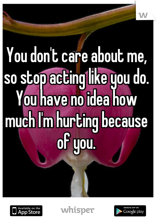 You don't care about me, so stop acting like you do. You have no idea how much I'm hurting because of you.