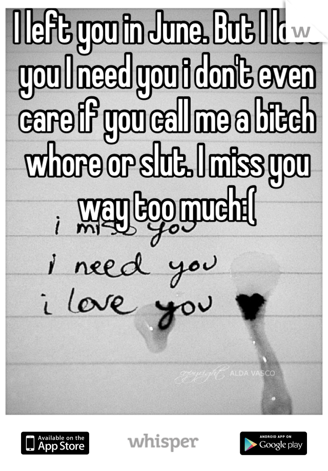 I left you in June. But I love you I need you i don't even care if you call me a bitch whore or slut. I miss you way too much:(