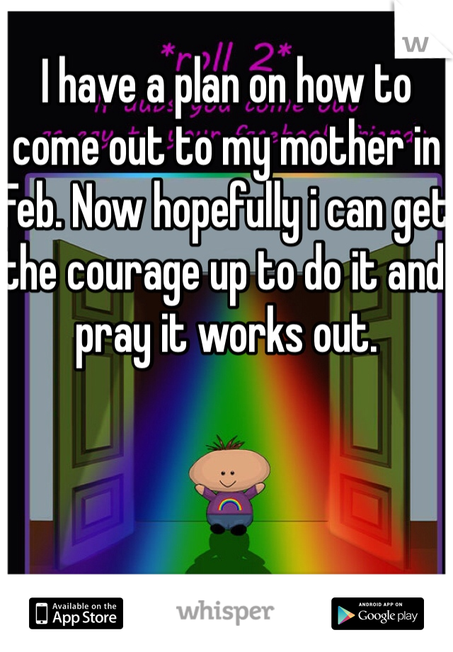 I have a plan on how to come out to my mother in Feb. Now hopefully i can get the courage up to do it and pray it works out.