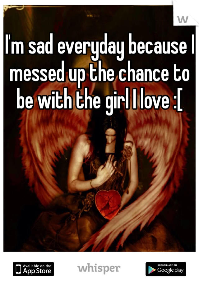 I'm sad everyday because I messed up the chance to be with the girl I love :[