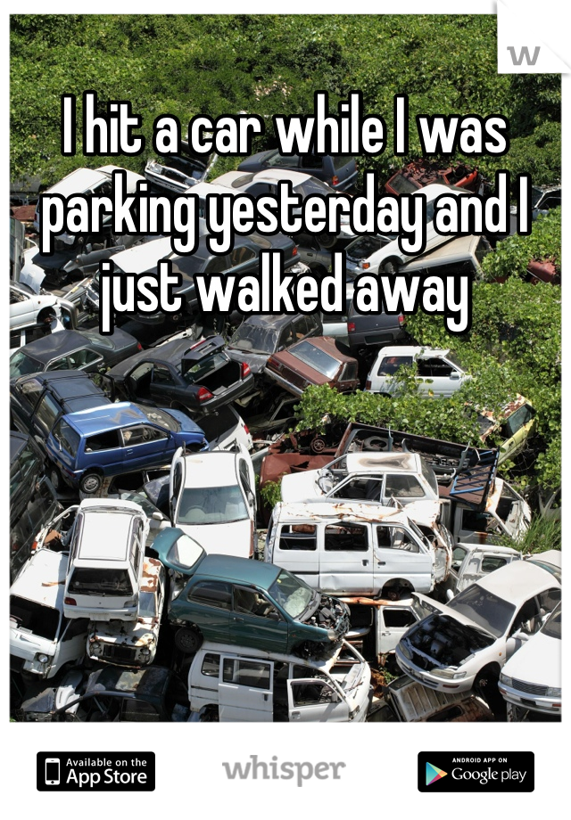 I hit a car while I was parking yesterday and I just walked away
