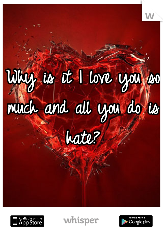 Why is it I love you so much and all you do is hate?