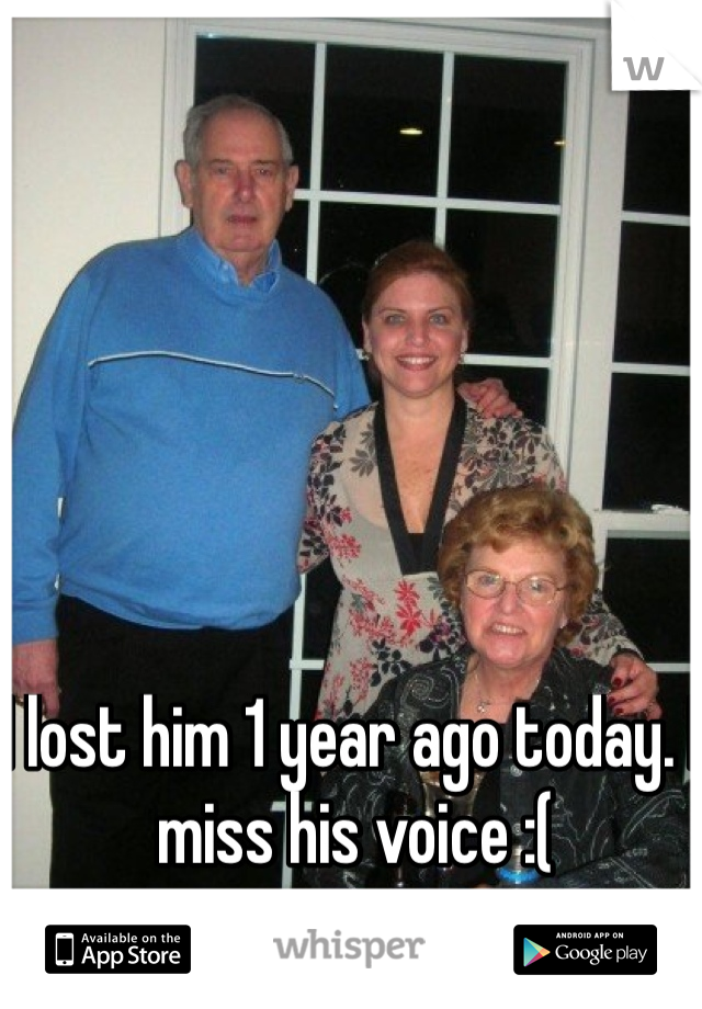 I lost him 1 year ago today. I miss his voice :(