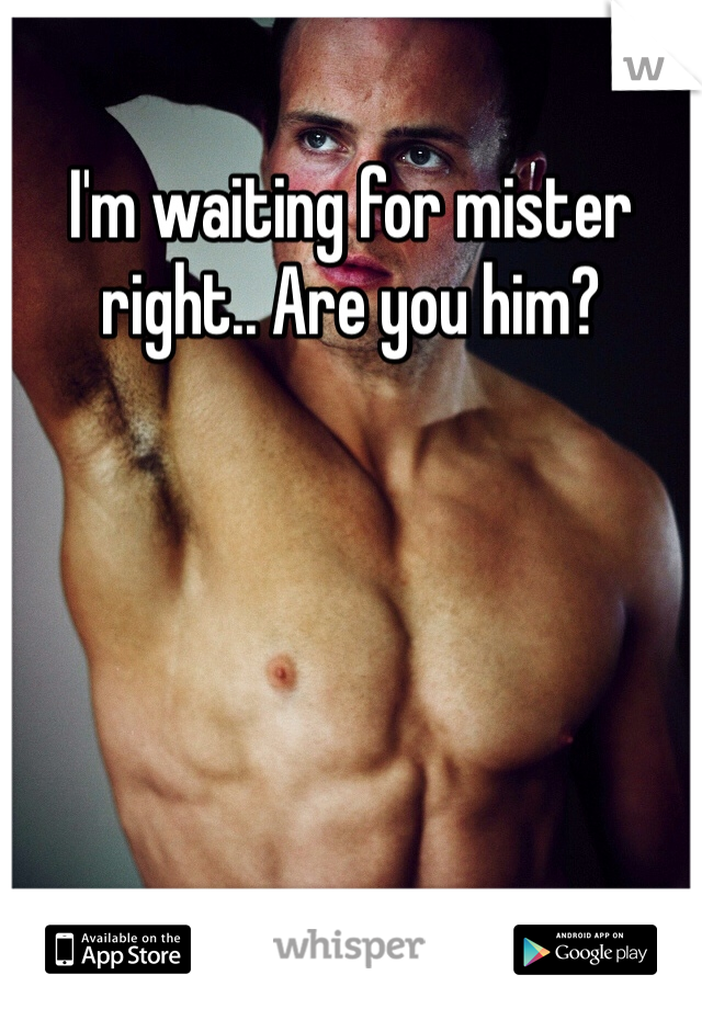 I'm waiting for mister right.. Are you him?