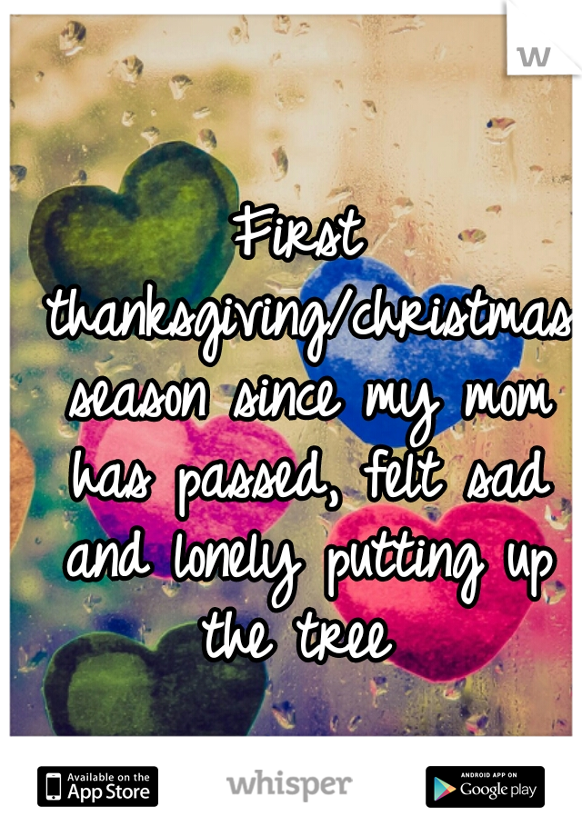 First thanksgiving/christmas season since my mom has passed, felt sad and lonely putting up the tree