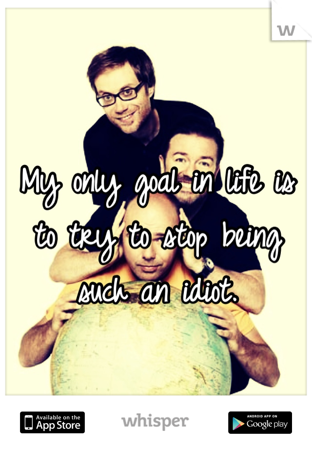 My only goal in life is to try to stop being such an idiot.