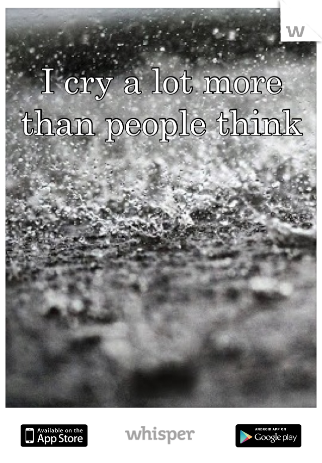 I cry a lot more than people think
