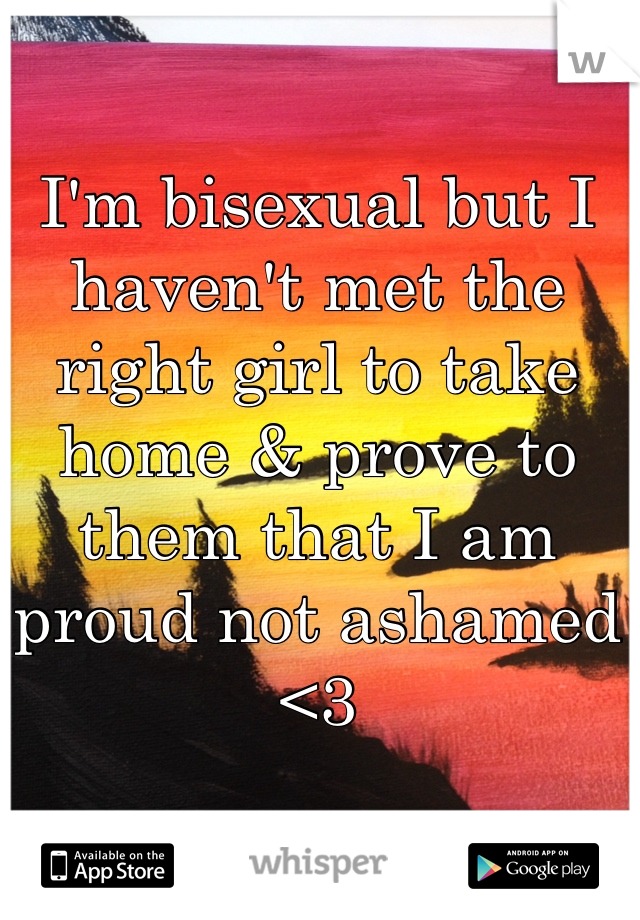 I'm bisexual but I haven't met the right girl to take home & prove to them that I am proud not ashamed <3