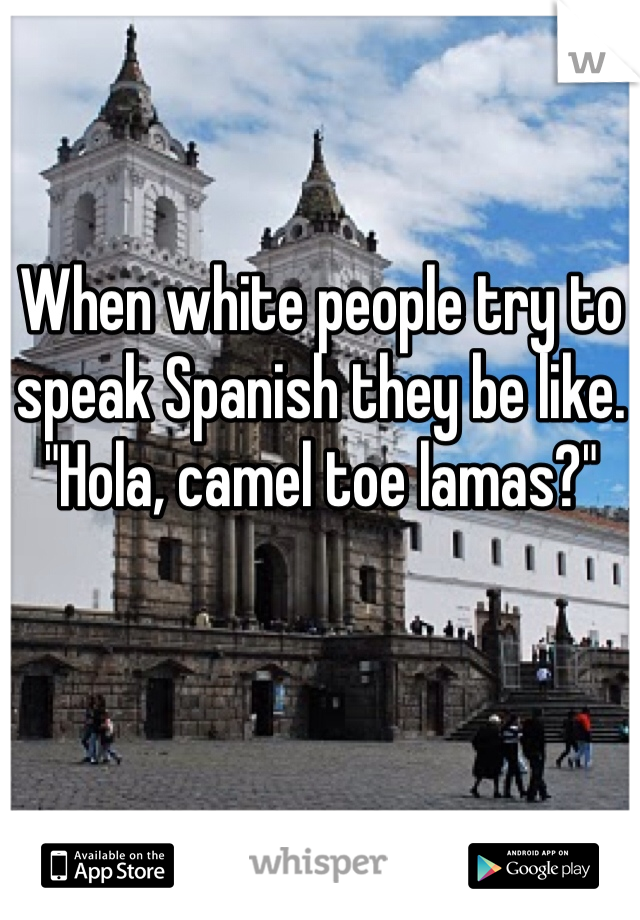 """When white people try to speak Spanish they be like.  """"Hola, camel toe lamas?"""""""
