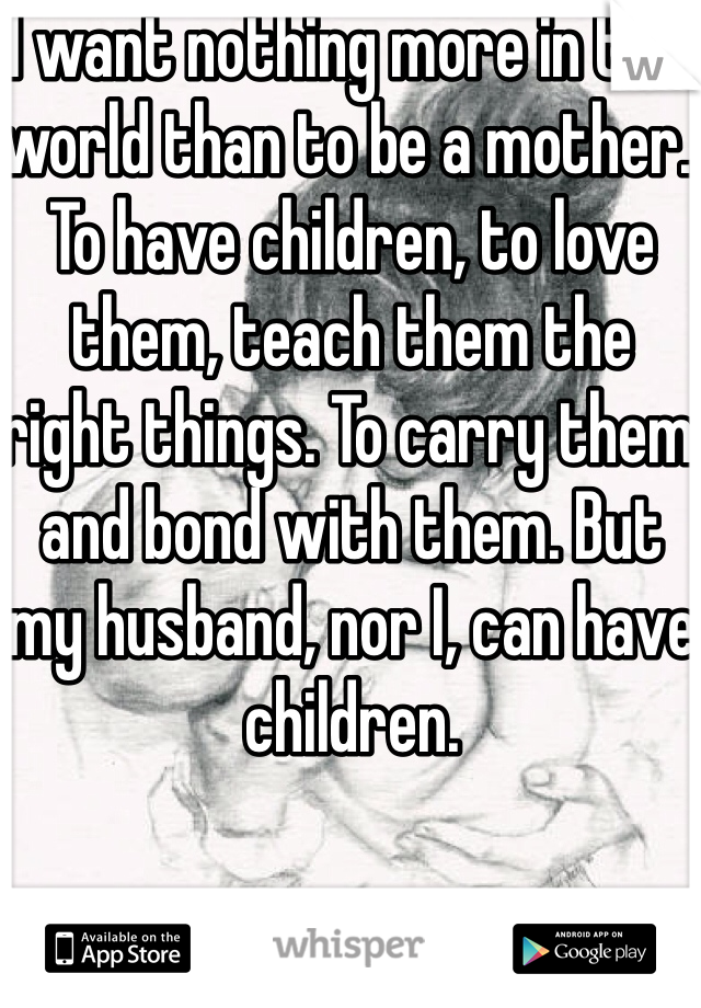 I want nothing more in this world than to be a mother. To have children, to love them, teach them the right things. To carry them and bond with them. But my husband, nor I, can have children.