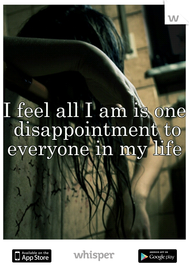 I feel all I am is one disappointment to everyone in my life