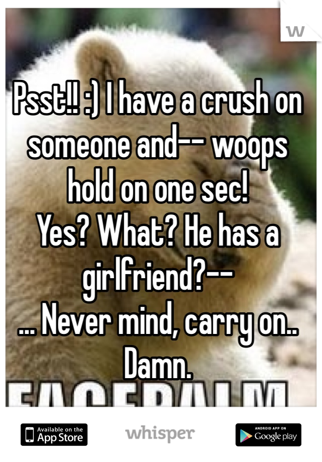 Psst!! :) I have a crush on someone and-- woops hold on one sec! Yes? What? He has a girlfriend?-- ... Never mind, carry on.. Damn.