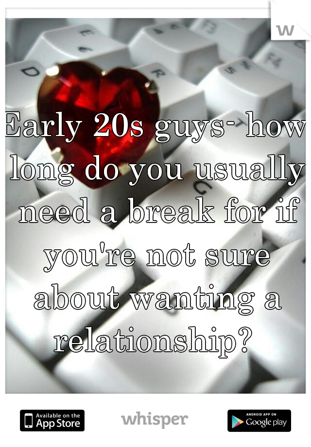 Early 20s guys- how long do you usually need a break for if you're not sure about wanting a relationship?