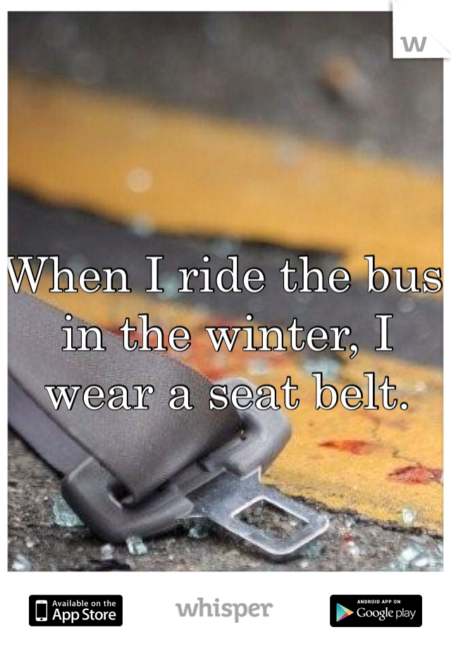 When I ride the bus in the winter, I wear a seat belt.