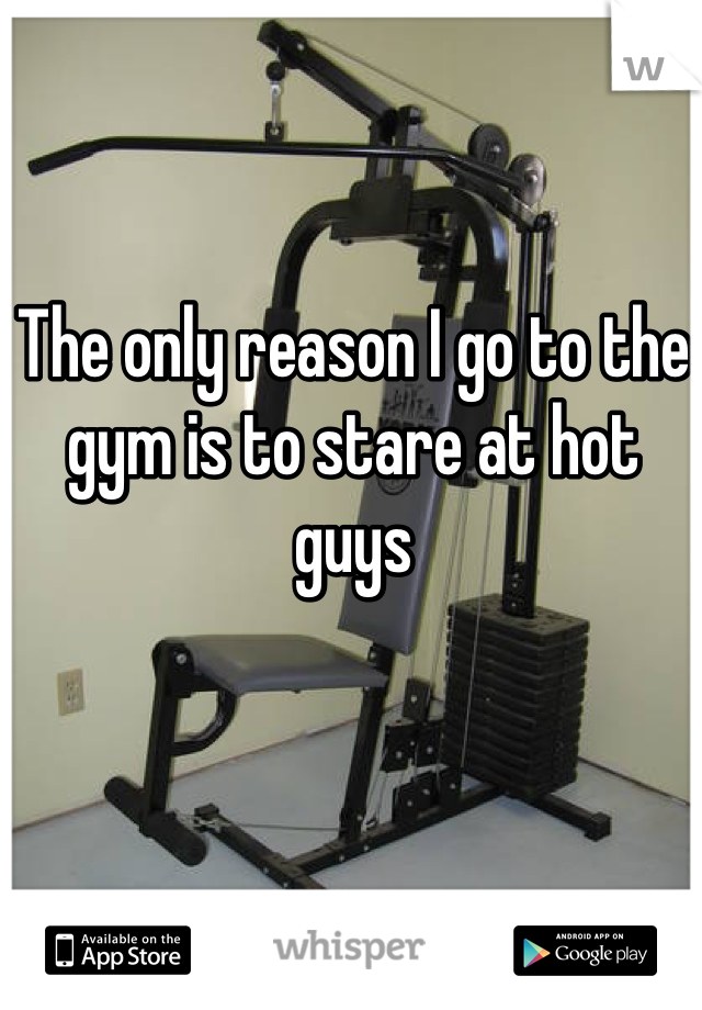 The only reason I go to the gym is to stare at hot guys
