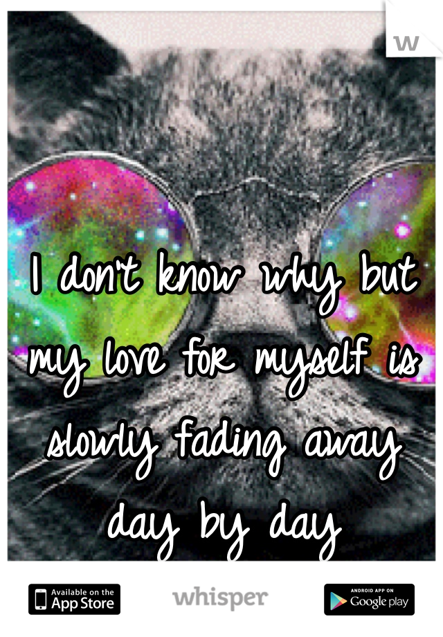 I don't know why but my love for myself is slowly fading away day by day