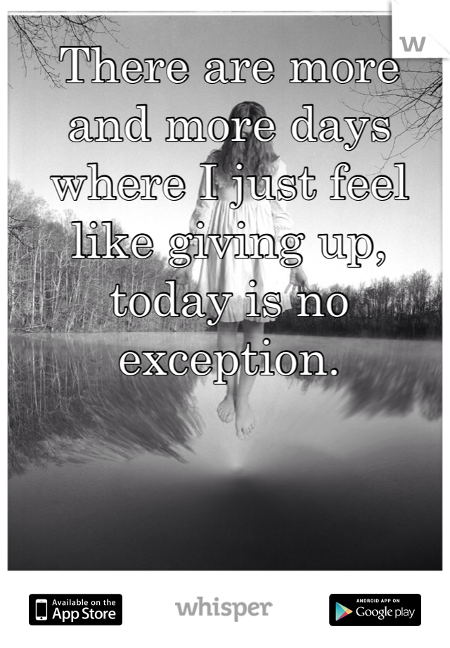 There are more and more days where I just feel like giving up, today is no exception.