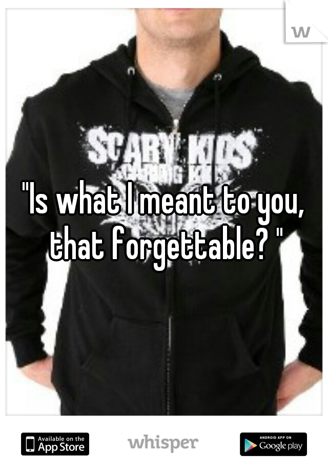 """""""Is what I meant to you, that forgettable? """""""