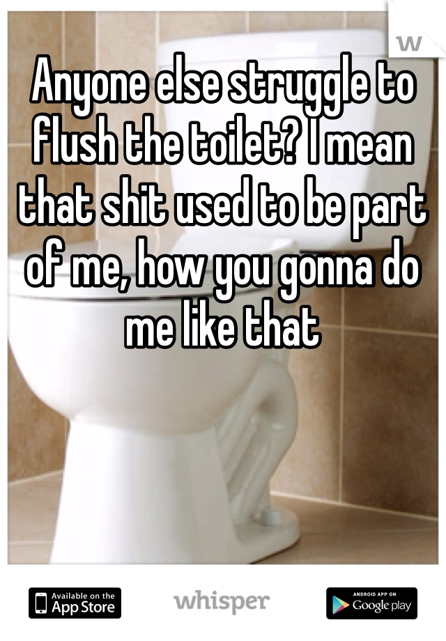 Anyone else struggle to flush the toilet? I mean that shit used to be part of me, how you gonna do me like that