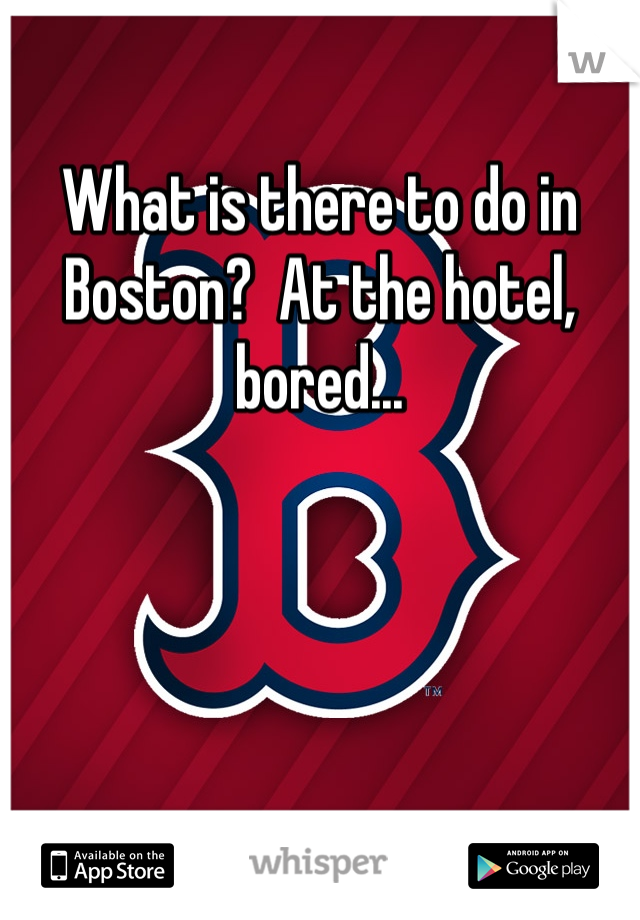 What is there to do in Boston?  At the hotel, bored...