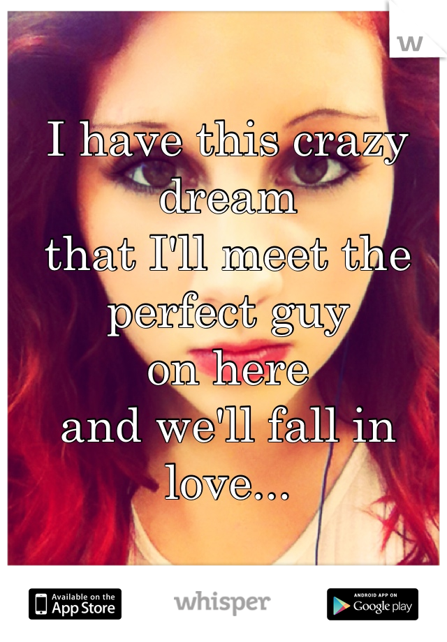 I have this crazy dream  that I'll meet the perfect guy  on here  and we'll fall in love...