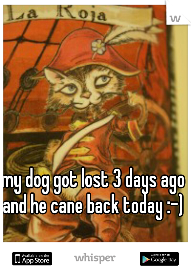 my dog got lost 3 days ago and he cane back today :-)