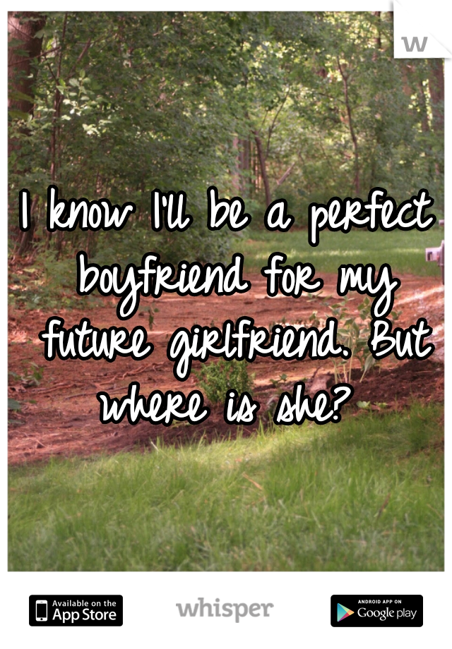 I know I'll be a perfect boyfriend for my future girlfriend. But where is she?