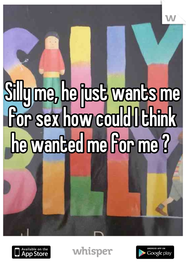 Silly me, he just wants me for sex how could I think he wanted me for me ?