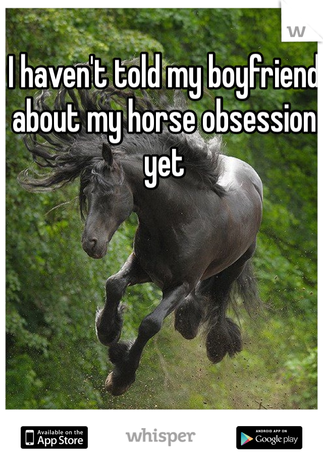 I haven't told my boyfriend about my horse obsession yet