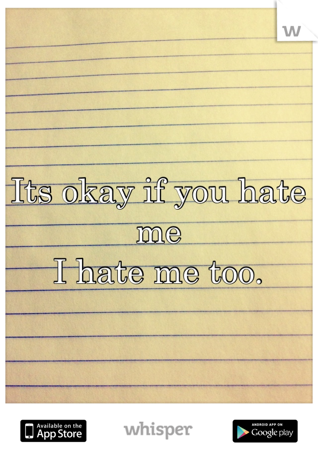Its okay if you hate me I hate me too.