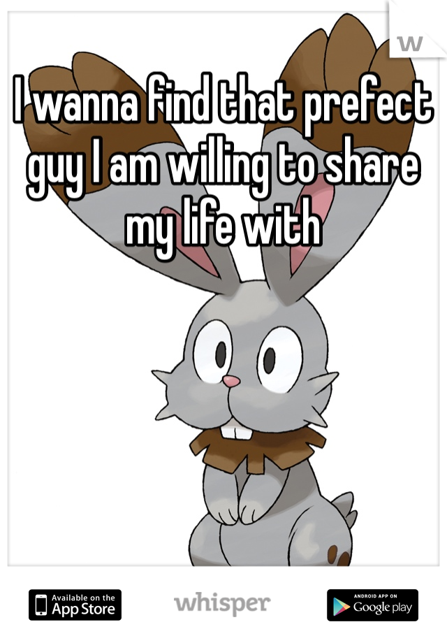 I wanna find that prefect guy I am willing to share my life with
