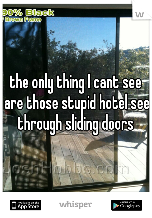 the only thing I cant see are those stupid hotel see through sliding doors