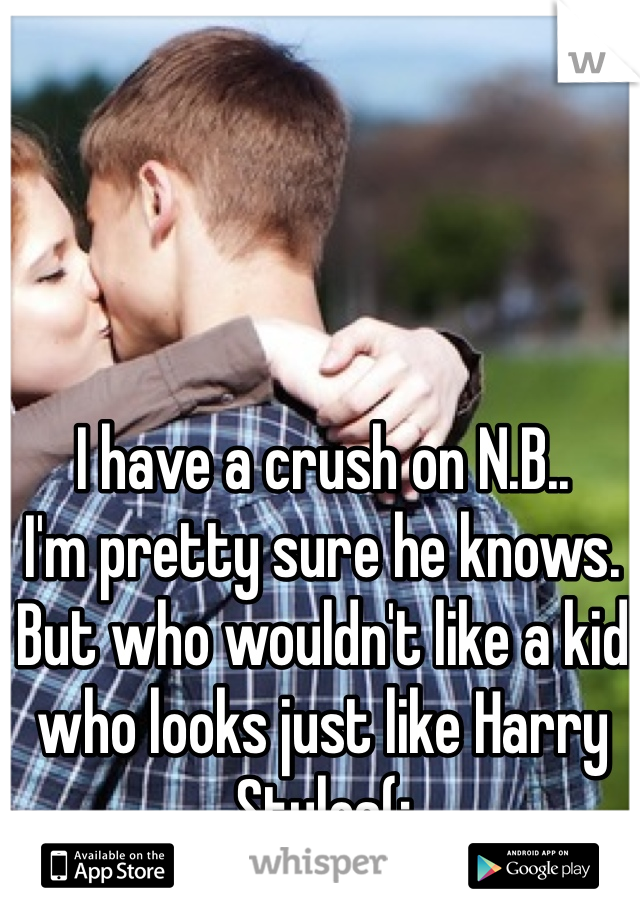 I have a crush on N.B..  I'm pretty sure he knows.  But who wouldn't like a kid who looks just like Harry Styles(;