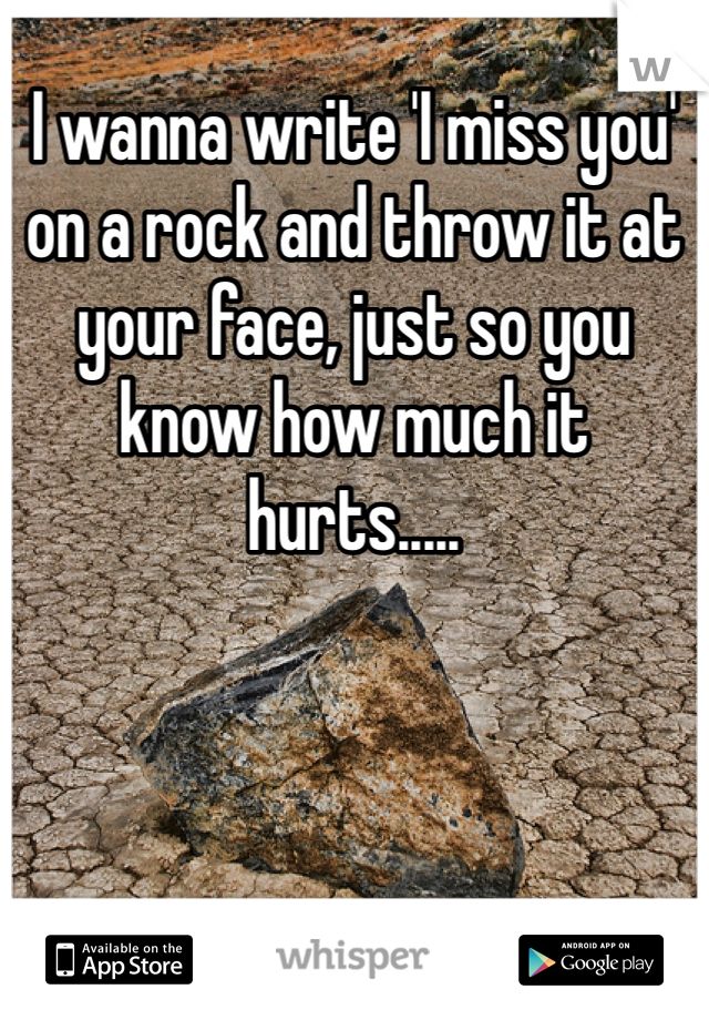 I wanna write 'I miss you' on a rock and throw it at your face, just so you know how much it hurts.....