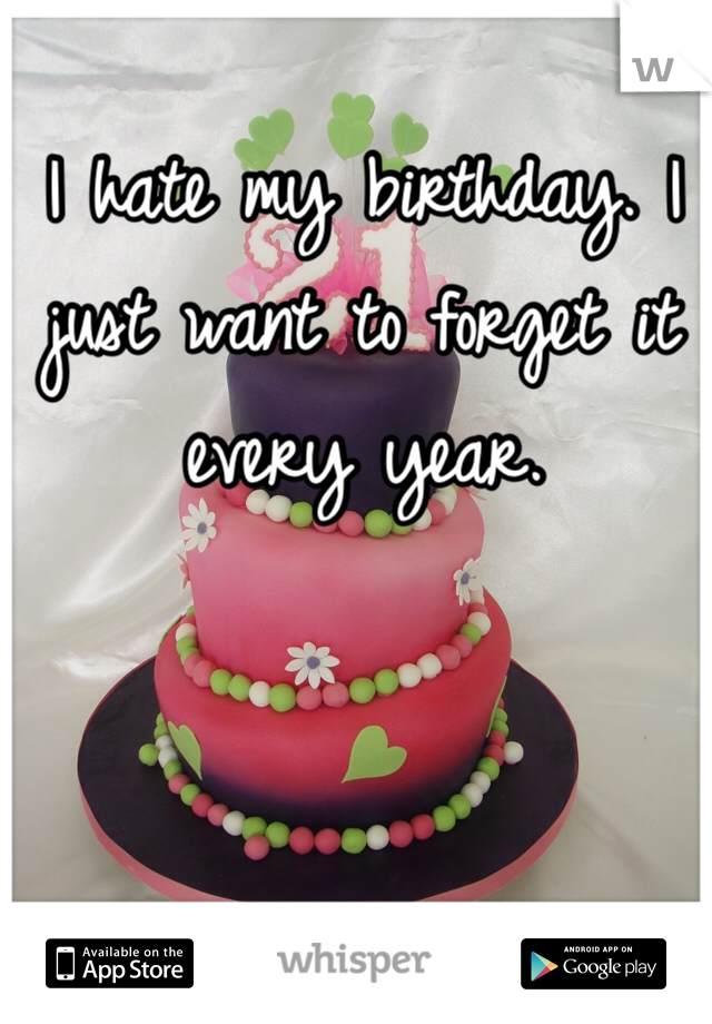 I hate my birthday. I just want to forget it every year.
