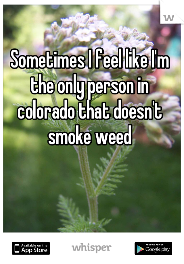 Sometimes I feel like I'm the only person in colorado that doesn't smoke weed