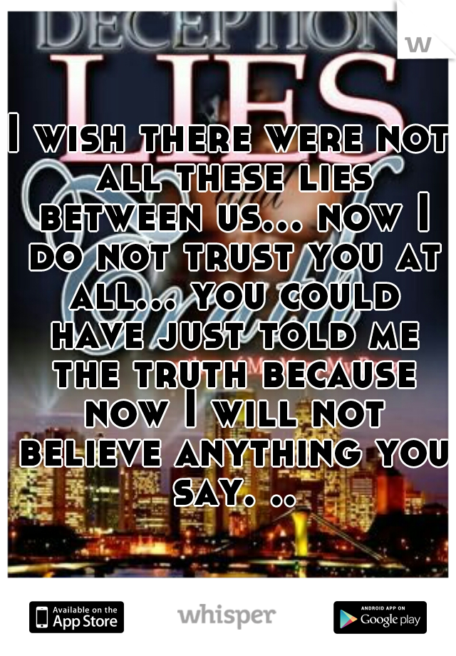 I wish there were not all these lies between us... now I do not trust you at all... you could have just told me the truth because now I will not believe anything you say. ..