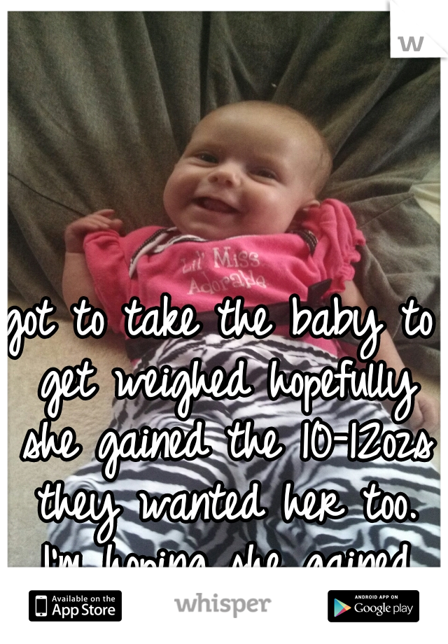got to take the baby to get weighed hopefully she gained the 10-12ozs they wanted her too. I'm hoping she gained more.