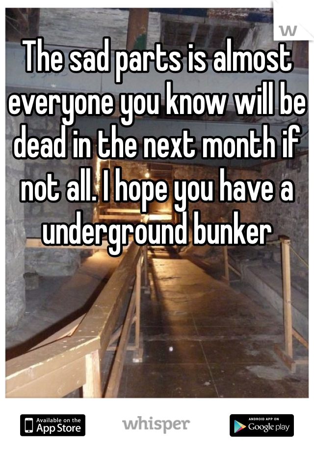 The sad parts is almost everyone you know will be dead in the next month if not all. I hope you have a underground bunker